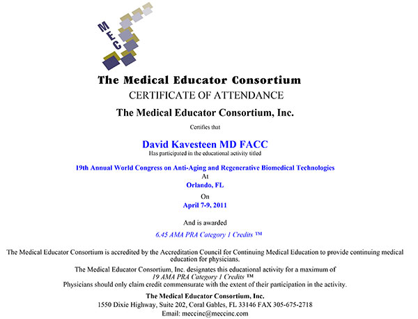 antiaging-cme Dr. David Kavesteen Awarded 6.45 AMA PRA Category