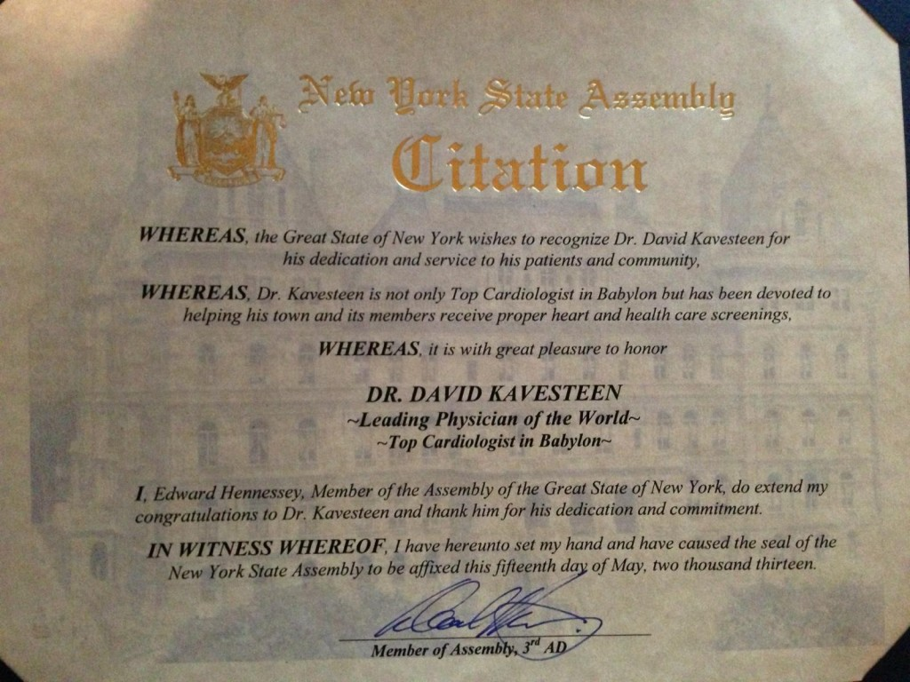 Award-1024x768 Dr. Kavesteen Awarded Citation from New York Assembly
